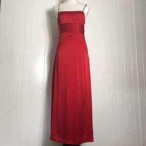 CK Calvin Klein - 100% Silk Maxi Slip Dress Red 8